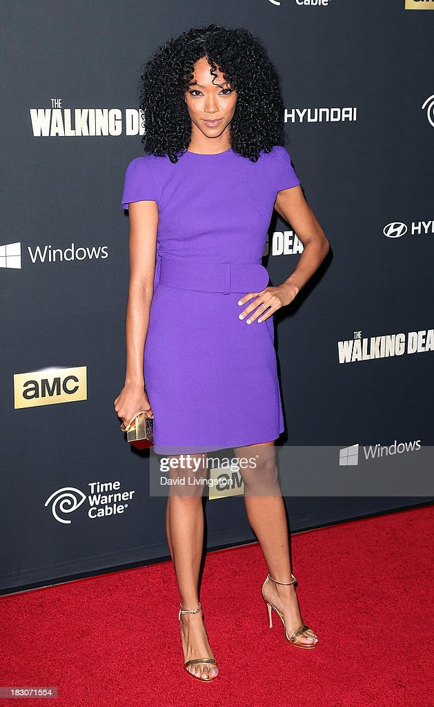 Actress Sonequa Martin-Green attends the premiere of AMC's 'The Walking Dead' 4th Season at Universal CityWalk on October 3, 2013 in Universal City, California.