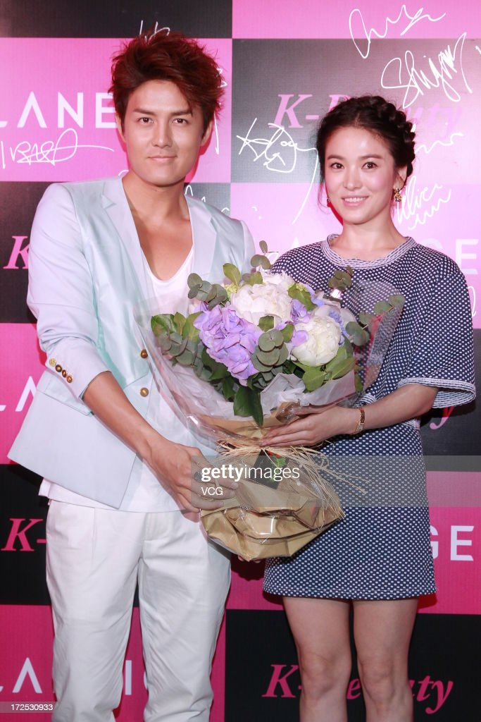 Actress Song Hye Kyo and singer Kenji Wu (L) attend Laneige K-Beauty Cocktail Party at Marco Polo Hotel on July 2, 2013 in Hong Kong, Hong Kong.