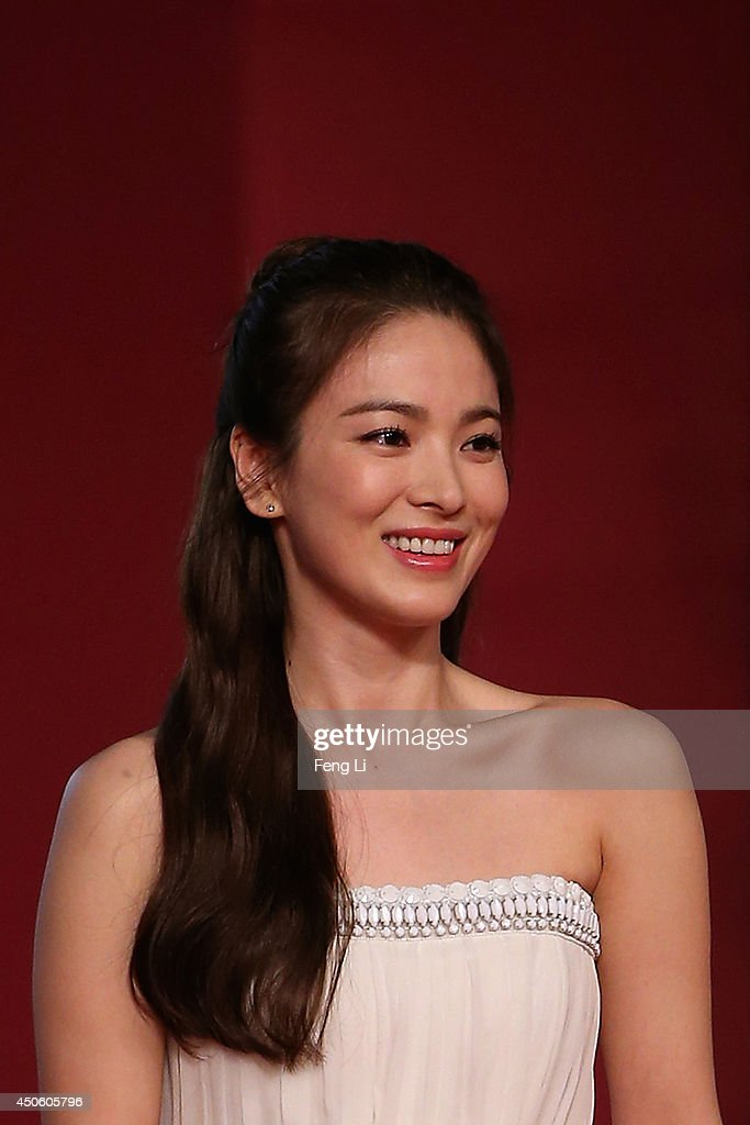 Actress Song Hye Kyo arrives for the red carpet of the 17th Shanghai International Film Festival at Shanghai Grand Theatre on June 14 2014 in...