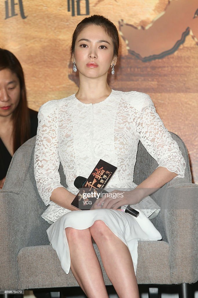 Actress Song Hye Kyo attends press conference of movie 'The Crossing' on December 2 2014 in Taipei Taiwan of China