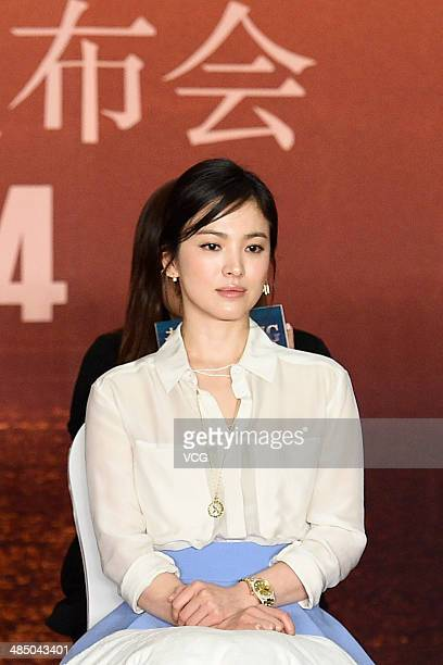 Actress Song Hye Kyo attends 'the Crossing' press conference during the 2014 Beijing International Film Festival on April 16 in Beijing China