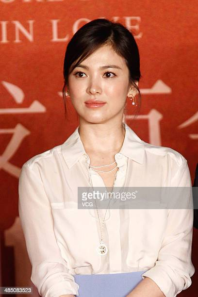 Actress Song Hye Kyo attends 'the Crossing' press conference during the 2014 Beijing International Film Festival at Beijing Hotel on April 16 2014 in...