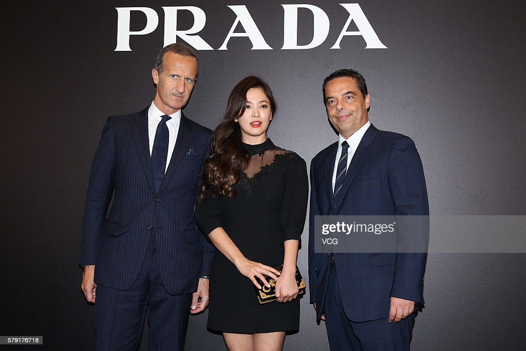 Actress Song Hye-kyo (C) attends an opening event of Prada on July 22, 2016 in Hong Kong, China.