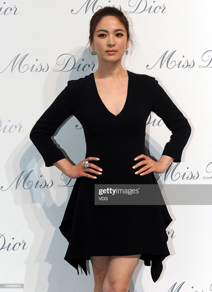 Actress Song Hyekyo attends Miss Dior exhibition at Shanghai Urban Sculpture Center on June 19 2014 in Shanghai China
