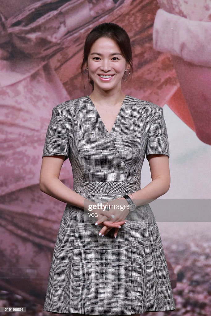 Actress Song Hye-kyo attends television drama 'Descendants of the Sun' press conference on April 5, 2016 in Hong Kong, Hong Kong.