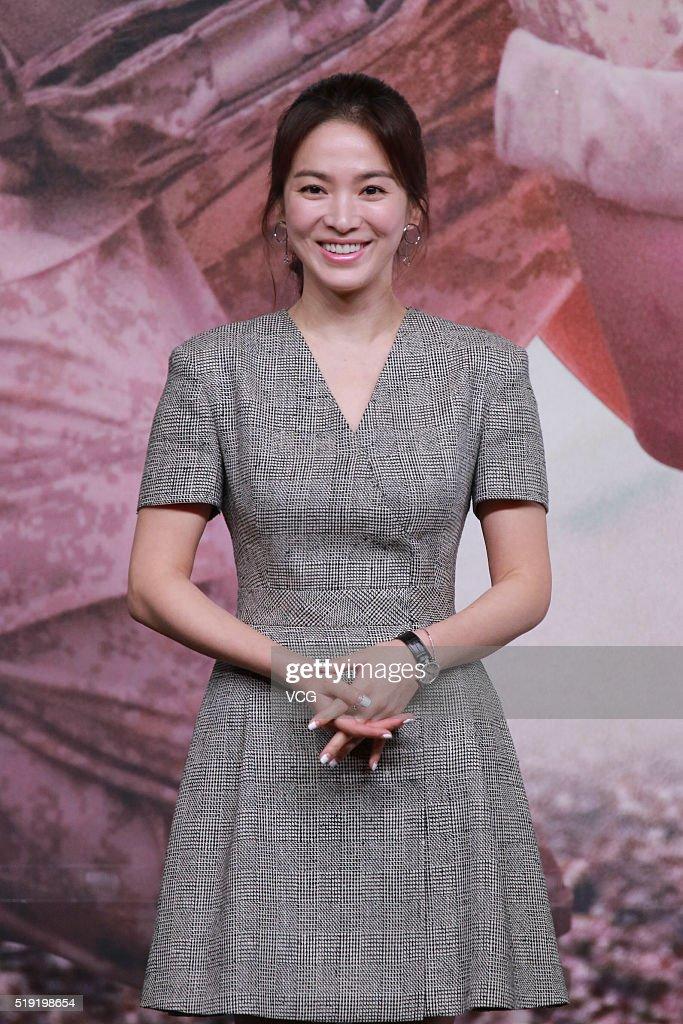Actress Song Hye-kyo attends television drama 'Descendants of the Sun' press conference on April 5, 2016 in Hong Kong, Hong Kong.