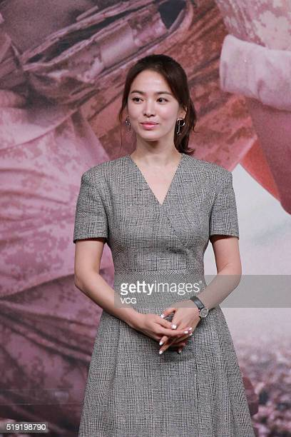 Actress Song Hyekyo attends television drama 'Descendants of the Sun' press conference on April 5 2016 in Hong Kong Hong Kong