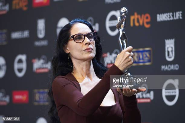 Actress Sonia Braga receives the 'Best Actress' award for the movie 'Aquarius' during the 'Platino Awards 2017' at La Caja Magica on July 22 2017 in...