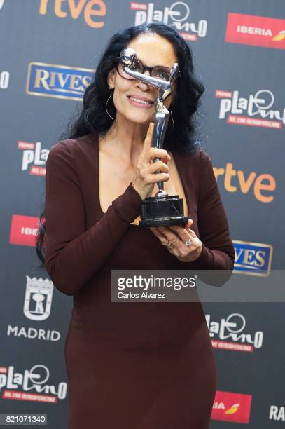Actress Sonia Braga receives the receives the 'Best Actress' award for the movie 'Aquarius' during the 'Platino Awards 2017' at La Caja Magica on...