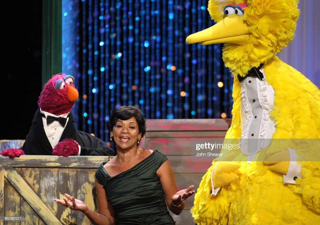 Actress <a gi-track='captionPersonalityLinkClicked' href=/galleries/search?phrase=Sonia+Manzano&family=editorial&specificpeople=2662541 ng-click='$event.stopPropagation()'>Sonia Manzano</a> performs with 'Big Bird onstage during the 36th Annual Daytime Emmy Awards at The Orpheum Theatre on August 30, 2009 in Los Angeles, California.