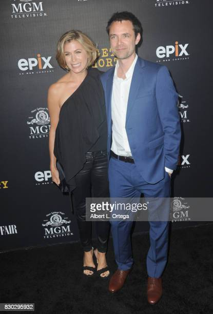 Actress Sonya Walger and husband executive producer Davey Holmes arrive for the Red Carpet Premiere of EPIX Original Series 'Get Shorty' held at...