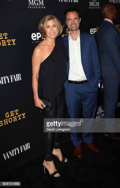 Actress Sonya Walger and husband executive producer Davey Holmes attends the red carpet premiere of EPIX original series 'Get Shorty' at Pacfic...