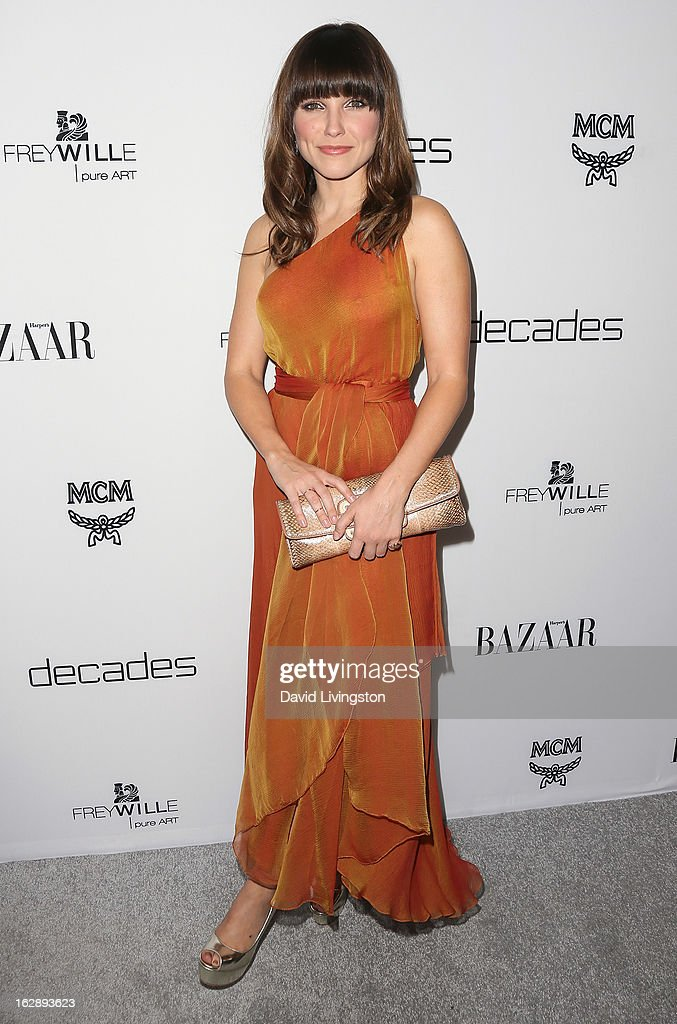 Actress <a gi-track='captionPersonalityLinkClicked' href=/galleries/search?phrase=Sophia+Bush&family=editorial&specificpeople=203180 ng-click='$event.stopPropagation()'>Sophia Bush</a> attends the Harper's BAZAAR celebration of Cameron Silver and Christos Garkinos of Decades new Bravo series 'Dukes of Melrose' at The Terrace at Sunset Tower on February 28, 2013 in West Hollywood, California.