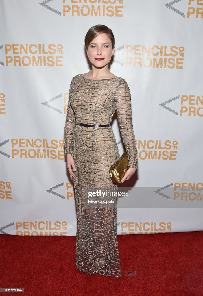 Actress <a gi-track='captionPersonalityLinkClicked' href=/galleries/search?phrase=Sophia+Bush&family=editorial&specificpeople=203180 ng-click='$event.stopPropagation()'>Sophia Bush</a> attends the third annual Pencils of Promise gala at Guastavino's on October 24, 2013 in New York City.