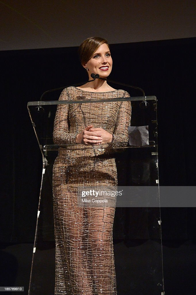 Actress <a gi-track='captionPersonalityLinkClicked' href=/galleries/search?phrase=Sophia+Bush&family=editorial&specificpeople=203180 ng-click='$event.stopPropagation()'>Sophia Bush</a> speaks onstage at the third annual Pencils of Promise gala at Guastavino's on October 24, 2013 in New York City.