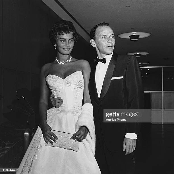 Actress Sophia Loren and Frank Sinatra attend the Hollywood premiere of 'The Pride And The Passion' on June 26 1957
