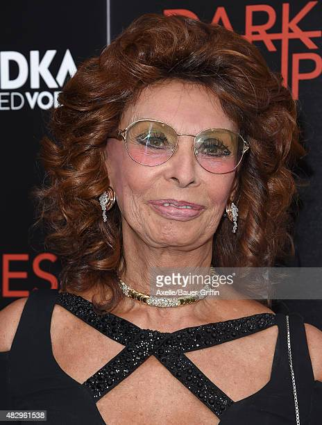 Actress Sophia Loren arrives at the premiere of DIRECTV's 'Dark Places' at Harmony Gold Theatre on July 21 2015 in Los Angeles California