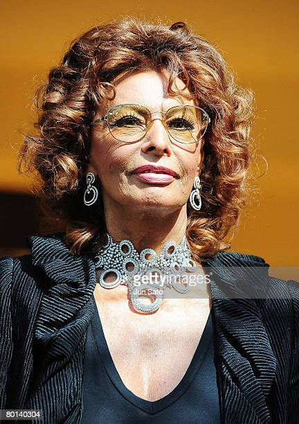 Actress Sophia Loren attends opening ceremony of Damiani Boutique Tokyo on March 6 2008 in Tokyo Japan