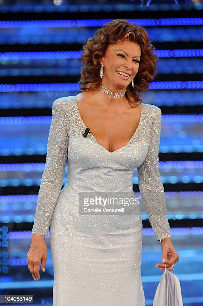 Actress Sophia Loren attends the 2010 Miss Italia beauty pageant at the Palazzetto of Salsomaggiore on September 13 2010 in Salsomaggiore Terme near...