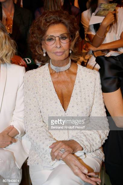 Actress Sophia Loren attends the Giorgio Armani Prive Haute Couture Fall/Winter 20172018 show as part of Haute Couture Paris Fashion Week on July 4...