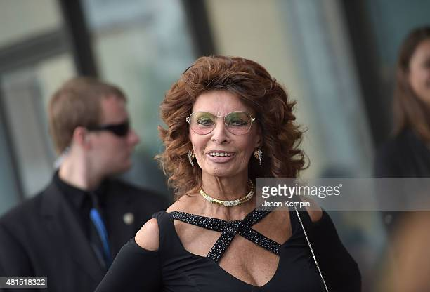 Actress Sophia Loren attends the premiere of 'Dark Places' at Harmony Gold Theatre on July 21 2015 in Los Angeles California