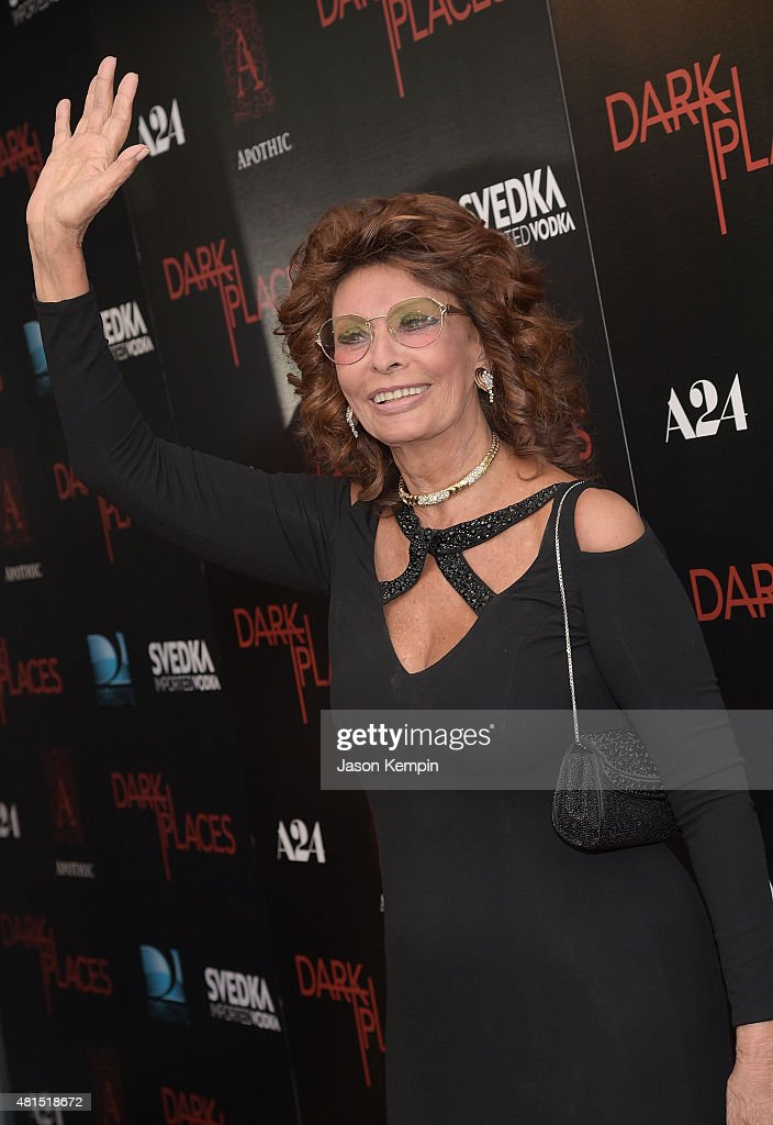 Actress Sophia Loren attends the premiere of 'Dark Places' at Harmony Gold Theatre on July 21, 2015 in Los Angeles, California.
