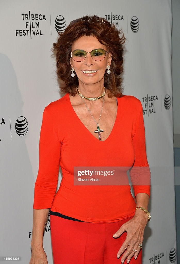 Actress Sophia Loren of 'Human Voice' attends the Shorts Program Soul Survivors during the 2014 Tribeca Film Festival at AMC Loews Village 7 on April...