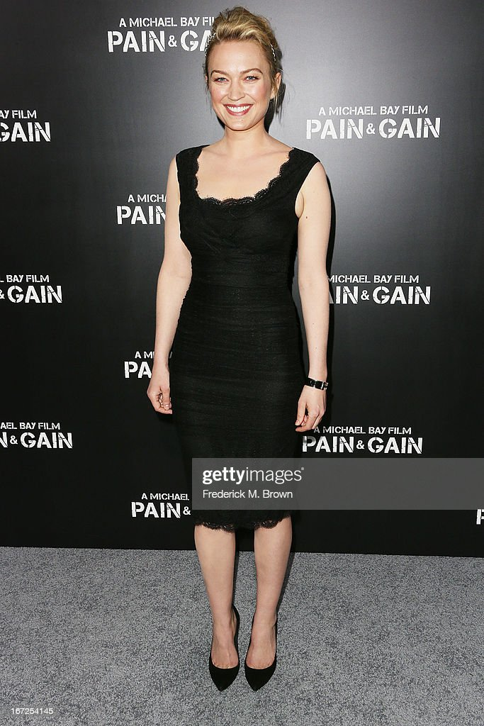 Actress Sophia Myles attends the premiere of Paramount Pictures' 'Pain & Gain' at the TCL Chinese Theatre on April 22, 2013 in Hollywood, California.