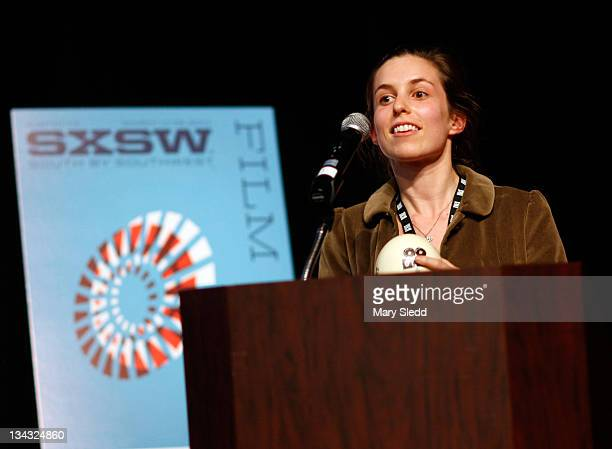 Actress Sophia Takal speaks onstage during the 2011 SXSW Music Film Interactive Festival Film Awards at Vimeo on March 15 2011 in Austin Texas