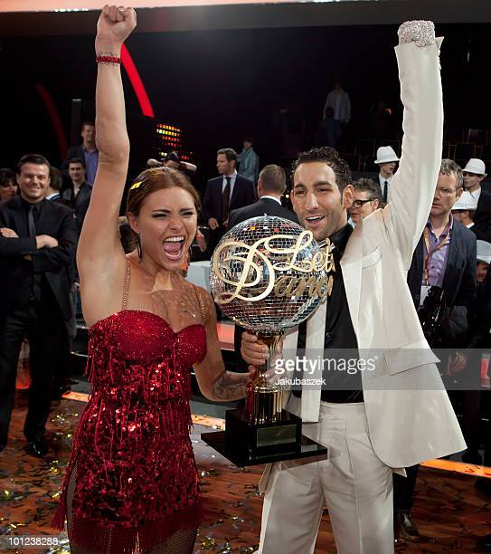 Actress Sophia Thomalla and dance partner Massimo Sinato pose after winning the final of the 'Let's Dance' TV show at Studios Adlershof on May 28...