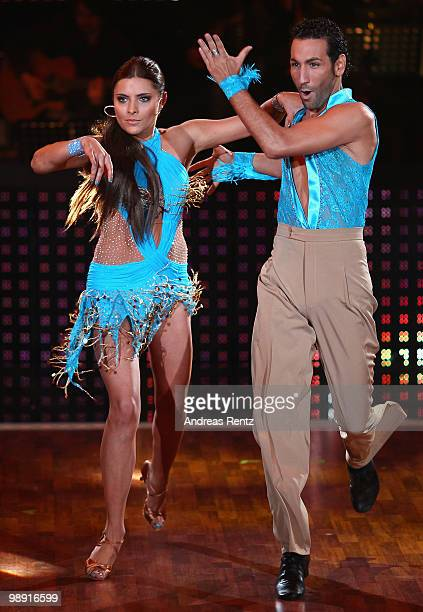 Actress Sophia Thomalla and professional dancer Massimo Sinato perform during the 'Let's Dance' TV show at Studios Adlershof on May 7 2010 in Berlin...