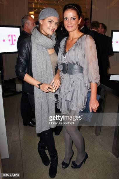 Actress Sophia Thomalla and TV Host Kerstin Linnartz attend the 'Launch of the new Windows Phone by Deutsche Telekom' at Hotel de Rome on October 20...