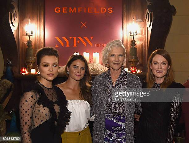 Actress Sophie Cookson actress Keri Russell model and dietician Maye Musk and actress Julianne Moore attend the Gemfields In Conversation Cocktail...