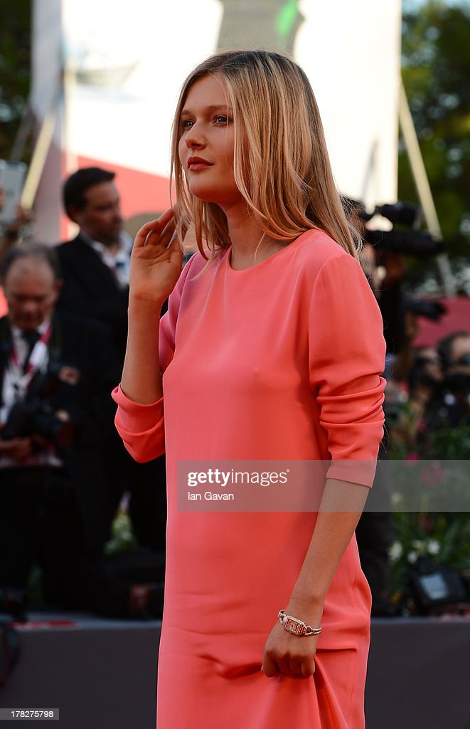 Actress Sophie Kennedy Clark wears a Jaeger-LeCoultre Reverso Duetto Cordonnet watch during the Opening Ceremony and 'Gravity' Premiere during the 70th Venice Film Festival at the Palazzo del Cinema on August 28, 2013 in Venice, Italy.