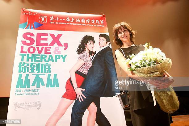 Actress Sophie Marceau attends 'Sex Love Therapy' premiere during 18th Shanghai International Film Festival at Shanghai Film Art Center on June 21...