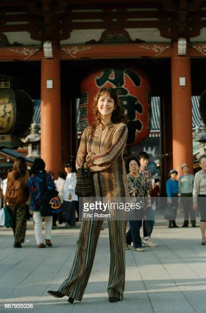 Actress Sophie Marceau tours Tokyo while in Japan to promote a new perfume Champs Elysses for the French perfume house Guerlain