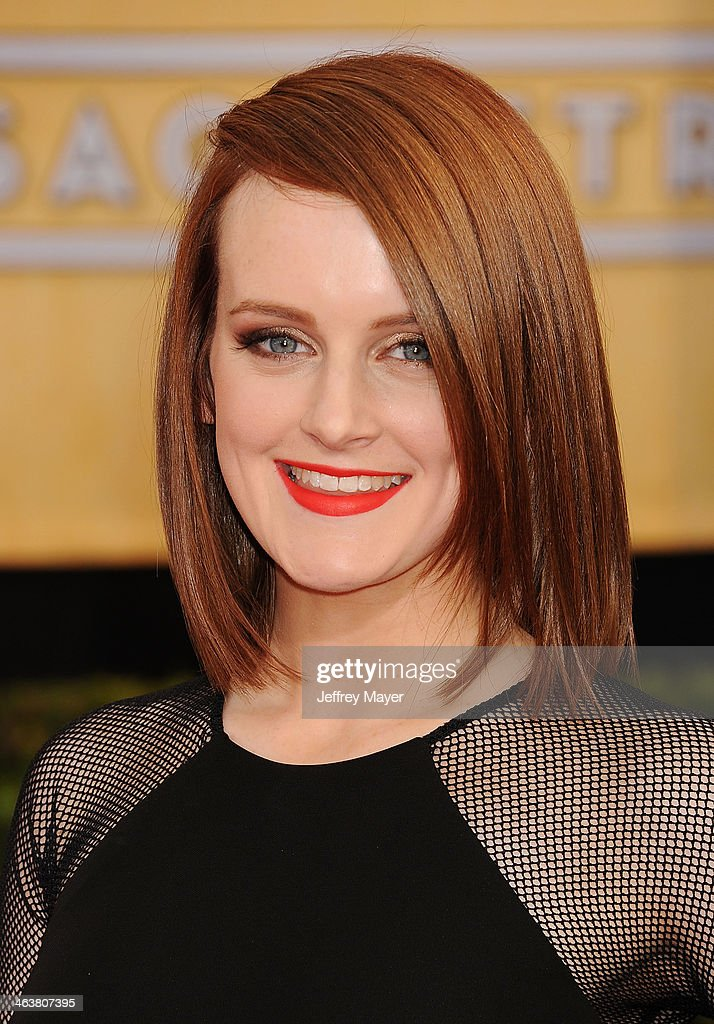 Actress <a gi-track='captionPersonalityLinkClicked' href=/galleries/search?phrase=Sophie+McShera&family=editorial&specificpeople=7829938 ng-click='$event.stopPropagation()'>Sophie McShera</a> arrives at the 20th Annual Screen Actors Guild Awards at The Shrine Auditorium on January 18, 2014 in Los Angeles, California.