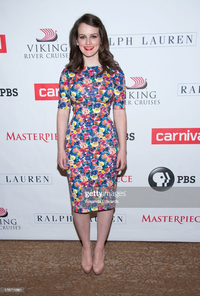 Actress <a gi-track='captionPersonalityLinkClicked' href=/galleries/search?phrase=Sophie+McShera&family=editorial&specificpeople=7829938 ng-click='$event.stopPropagation()'>Sophie McShera</a> arrives at the 'Downton Abbey' photo call at The Beverly Hilton Hotel on August 6, 2013 in Beverly Hills, California.