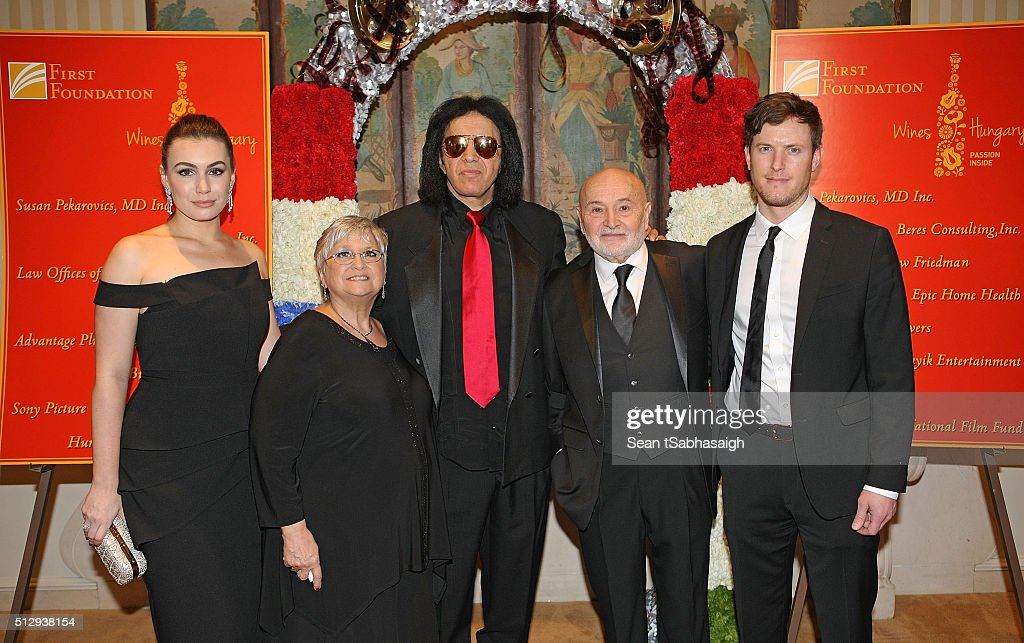 Actress Sophie Simmons, Hungarians in Hollywood host Bonnie Bunyik, musician Gene Simmons, Hungarians in Hollywood host Bela Bunyik and James Kimble pose for a photo on the red carpet at the Pre-Oscar Hungarians in Hollywood Gala celebrating the Academy Award nominated film Son of Saul at the Peninsula Hotel on February 27, 2016 in Beverly Hills, California.