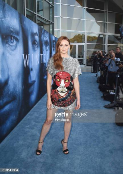 Actress Sophie Turner at the Los Angeles Premiere for the seventh season of HBO's 'Game Of Thrones' at Walt Disney Concert Hall on July 12 2017 in...