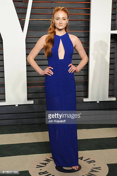 Actress Sophie Turner attends the 2016 Vanity Fair Oscar Party hosted By Graydon Carter at Wallis Annenberg Center for the Performing Arts on...