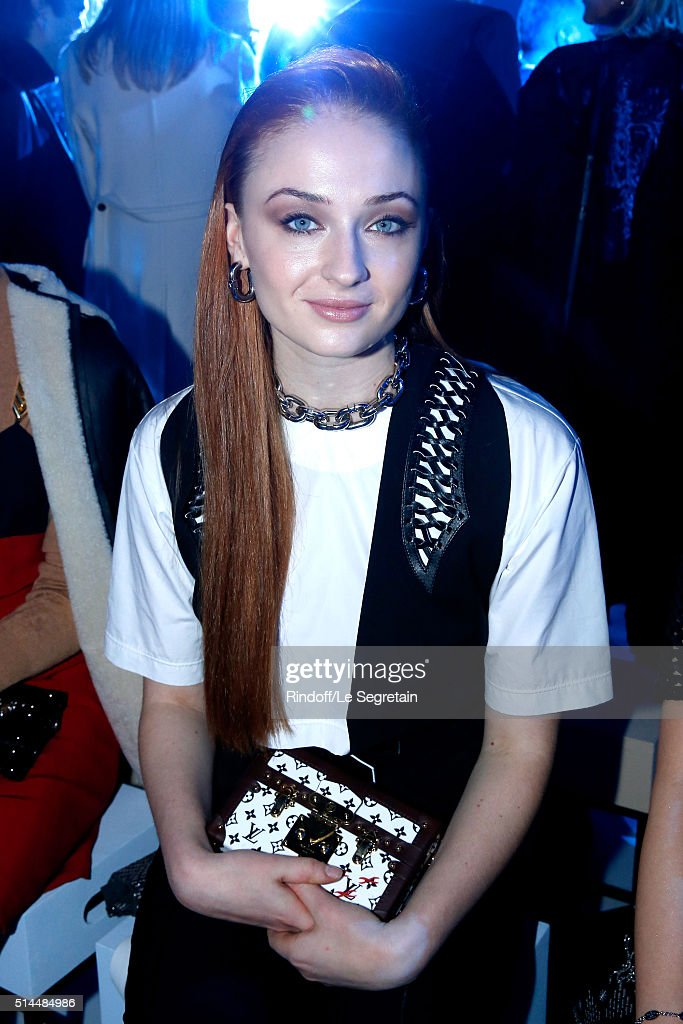 Actress Sophie Turner attends the Louis Vuitton show as part of the Paris Fashion Week Womenswear Fall/Winter 2016/2017. Held at Louis Vuitton Foundation on March 9, 2016 in Paris, France.