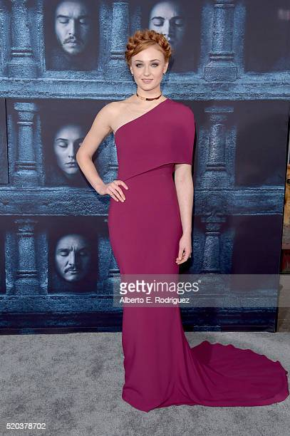 Actress Sophie Turner attends the premiere of HBO's 'Game Of Thrones' Season 6 at TCL Chinese Theatre on April 10 2016 in Hollywood California