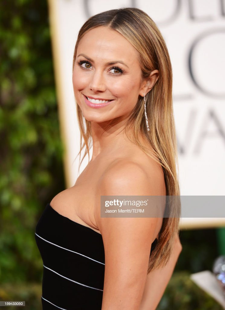 Actress <a gi-track='captionPersonalityLinkClicked' href=/galleries/search?phrase=Stacy+Keibler&family=editorial&specificpeople=3031844 ng-click='$event.stopPropagation()'>Stacy Keibler</a> arrives at the 70th Annual Golden Globe Awards held at The Beverly Hilton Hotel on January 13, 2013 in Beverly Hills, California.