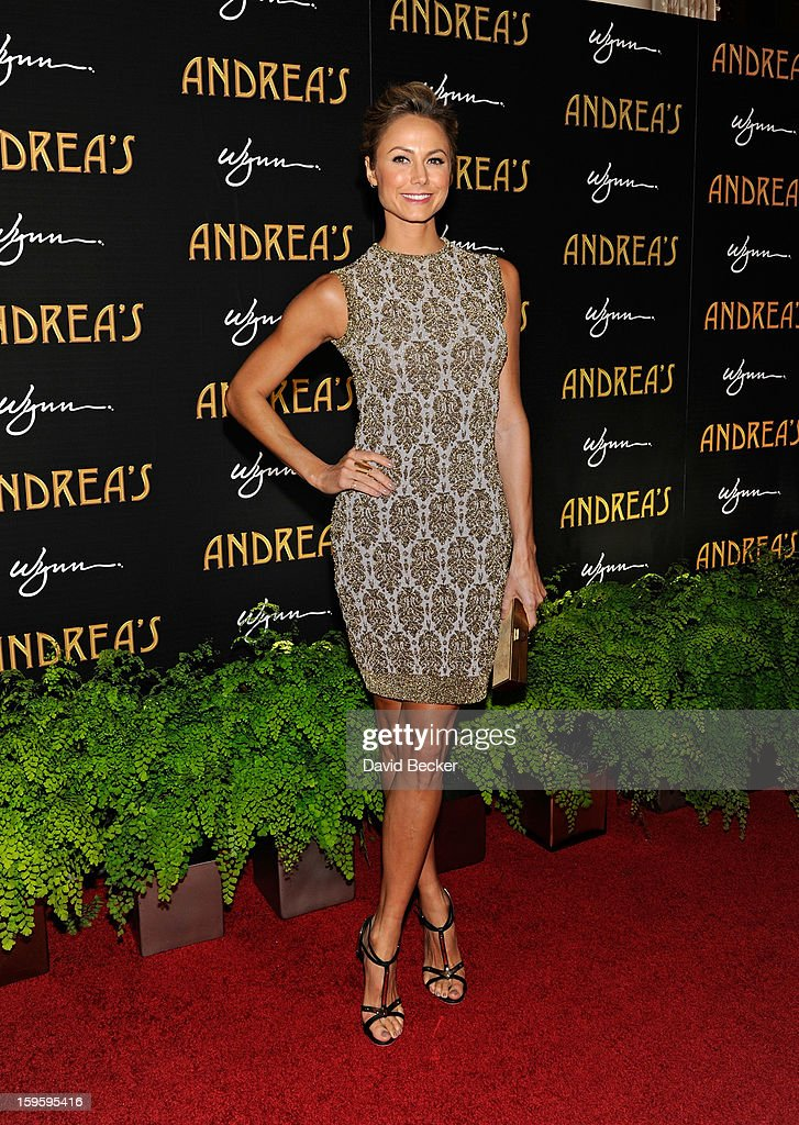 Actress Stacy Keibler arrives for the grand opening celebration at Andrea's at the Wynn Las Vegas on January 16, 2013 in Las Vegas, Nevada.