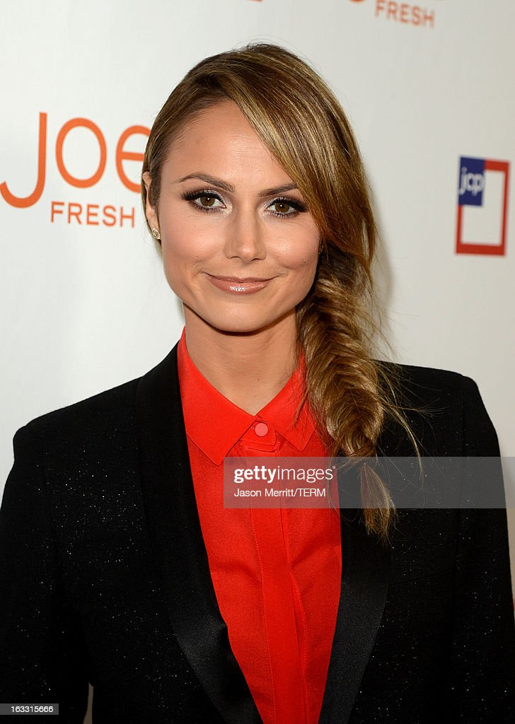 Actress <a gi-track='captionPersonalityLinkClicked' href=/galleries/search?phrase=Stacy+Keibler&family=editorial&specificpeople=3031844 ng-click='$event.stopPropagation()'>Stacy Keibler</a> attends Joe Fresh at jcp launch event on March 7, 2013 in Beverly Hills, California.