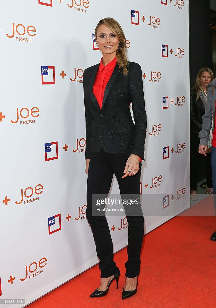 Actress <a gi-track='captionPersonalityLinkClicked' href=/galleries/search?phrase=Stacy+Keibler&family=editorial&specificpeople=3031844 ng-click='$event.stopPropagation()'>Stacy Keibler</a> attends the JCPenney 'Joe Fresh' launch party at the Joe Fresh at jcp Pop Up store on March 7, 2013 in Los Angeles, California.