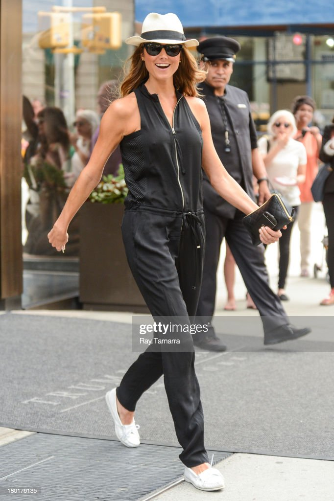 Actress Stacy Keibler leaves her Soho hotel on September 9, 2013 in New York City.