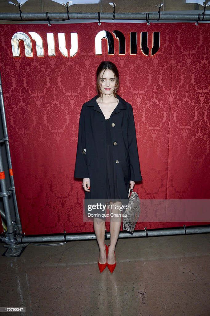 Actress <a gi-track='captionPersonalityLinkClicked' href=/galleries/search?phrase=Stacy+Martin&family=editorial&specificpeople=5545651 ng-click='$event.stopPropagation()'>Stacy Martin</a> attends the Miu Miu show as part of the Paris Fashion Week Womenswear Fall/Winter 2014-2015 on March 5, 2014 in Paris, France.
