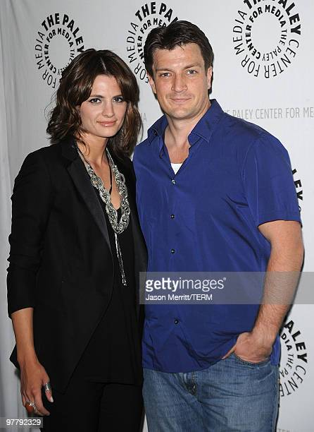 Actress Stana Katic and actor Nathan Fillion attend The Paley presentation of 'Castle' at The Paley Center for Media on March 16 2010 in Beverly...
